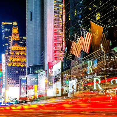 light trails in time square 2012